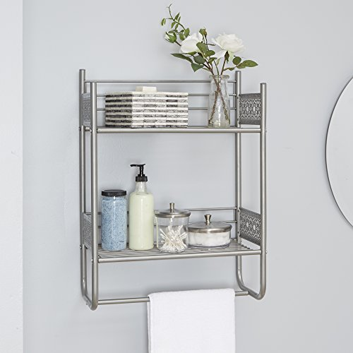 Filigree Bathroom Collection Wall Shelf, Nickel
