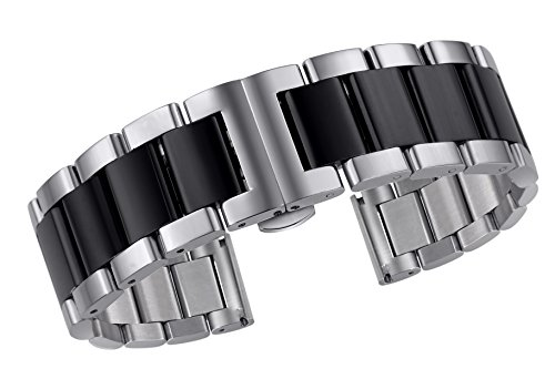 - 20mm Two Tone 316L Stainless Steel Watch Band Bracelet Solid Links Silver and Black Deployment Clasp