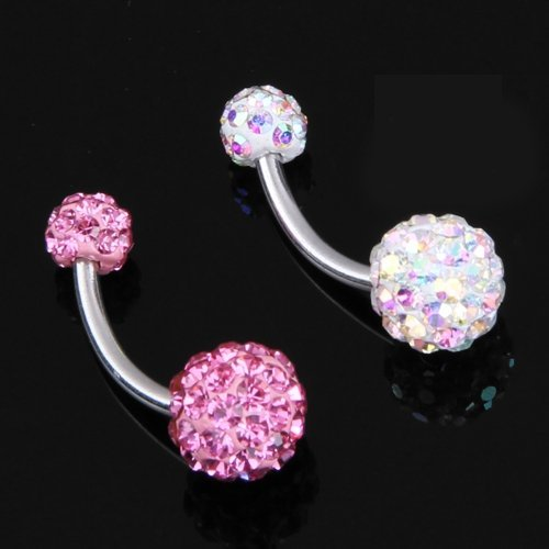 SODIAL (R)2X PIERCING NOMBRIL EN STRASS CRISTAL BOULE MULTICOLOR
