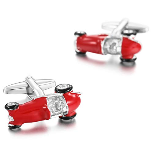 MOWOM Black Red Silver Tone 2PCS Rhodium Plated Cufflinks Classic Car Shirt Wedding Business