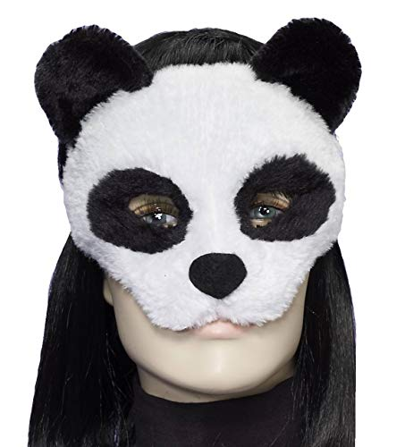Forum Novelties Women's Plush Panda Mask, White/Black, One Size]()