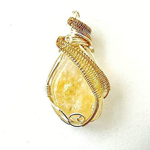 Raw Yellow Citrine Necklace - Gold & Silver Wire Wrapped Pendant | November Birthstone Crystal Jewelry - Graduation Gift for Him and Her | Festival Season Jewelry