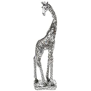LARGE SILVER GIRAFFE STANDING WITH LEAVE DETAIL FIGURE ORNAMENT NEW BOXED 38cm by SC Gifts