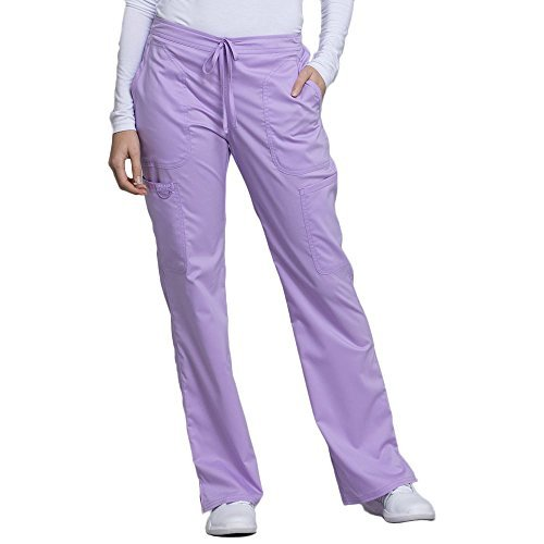 Cherokee Revolution by Workwear Women's Drawstring Flare Scrub Pant Small Petite Oh So Orchid