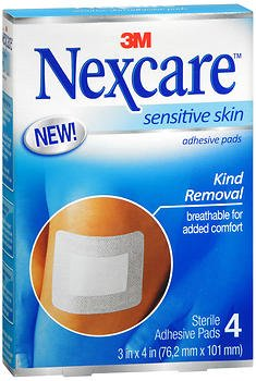 Nexcare Sensitive Skin Adhesive Pads 4 ea (Pack of 2) (Best Pads For Sensitive Skin)