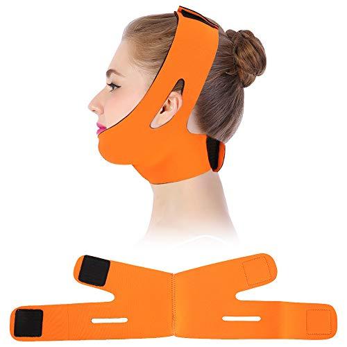 振り返る泳ぐ順応性フェイスリフティングベルト,顔の痩身包帯フェイシャルスリミング包帯ベルトマスクフェイスリフトダブルチンスキンストラップ (Orange)