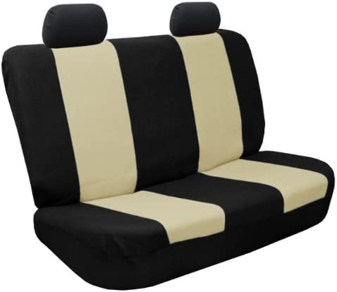 FH Group Cloth Seat Covers w 4 Headrests and Solid Bench Gray /& Black