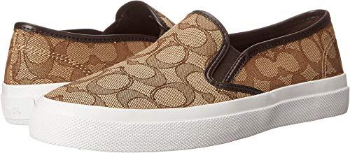 Coach Womens Chrissy Outline Sneaker, Khaki/Chestnut, Size 8.5