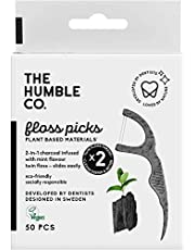 Humble Natural Dental Floss Picks - Flossers - Dental Floss Sticks - Activated Charcoal - 2 x 50 Packs