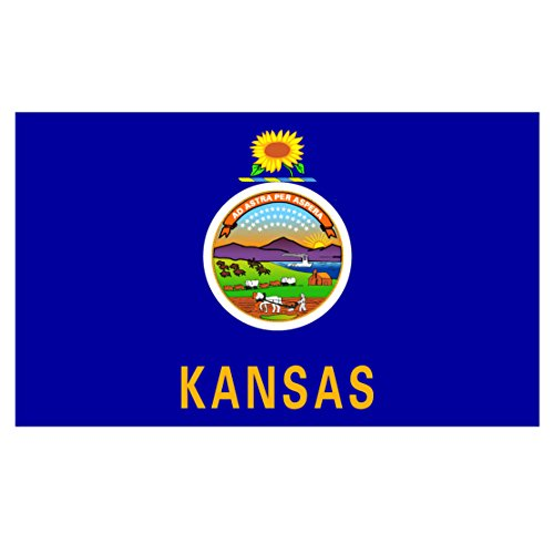 Lawrence Outdoor Wall (Kansas State Flag Reflective Decal - Five Inch Wide Full Color Decal, Sticker, for Indoor or Outdoor Use - Full Color Decal On 3M Reflective Material, Sticker)