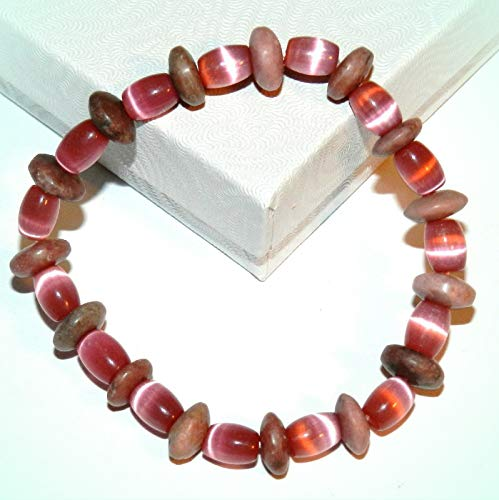 (Pink Rhodonite & Pink Cat's Eye Glass & Gemstone 7