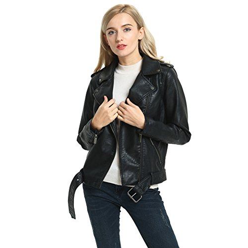 (SECOND COLOR Ladies Basic Leather Jacket, Cute Casual Pink Full Cut Short Motorcycle Leather Moto Biker Jacket Slim Fit Coat,Pink)