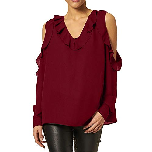 Clearance Sales Tops Cold Shoulder Casual Blouse Pullover