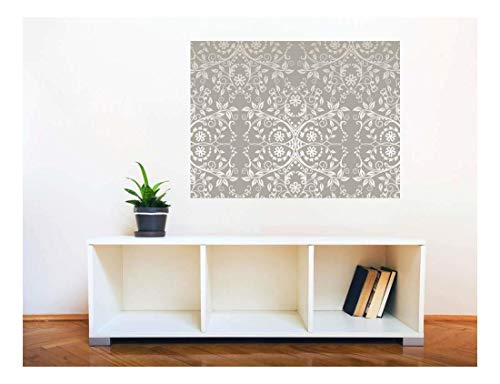Removable Wall Sticker Wall Mural Seamless Silver Lace Flowers and Leaves Creative Window View Wall Decor