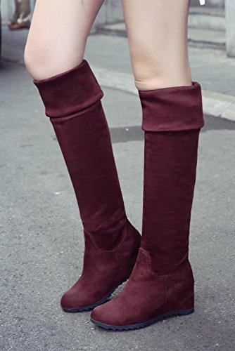 11f0ce7d9b ... BIGTREE Botas sobre la rodilla Mujer Otoño Invierno Encaje Casual  Plegable Cálidas Cómodo Cuña Botas largas