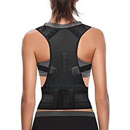 Thoracic Back Brace Posture Corrector for Women and Men – Improves Posture and Provides Lumbar Support – Magnetic Support Brace for Neck Shoulder Upper and Lower Back Pain Relief (Black, X-Large)