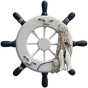 Dutch Brook Nautical Wooden Boat Ship Steering Wheel Fishing Net Home Wall Decor (White)