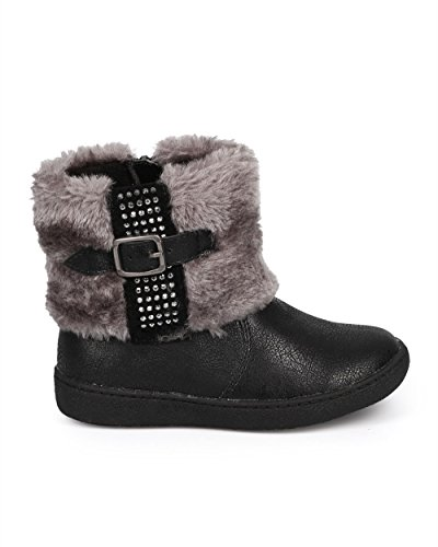JELLY BEANS Metallic Fur Rhinestone Zip Winter Boot (Toddler/Little Girl) DC67 - Black (Size: Toddler 10) by JELLYBEANS (Image #1)