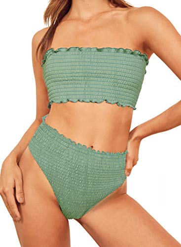 Dokotoo Womens Solid Vocation Sporty Strapless Push Up Fashion Bikini Sets High Waist 2 Pieces Swimsuit Swimwear Bathing Suit with Swim Bottom Green Large ()