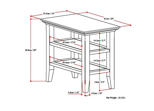Simpli Home Acadian Solid Wood Narrow Side Table, Tobacco Brown by Simpli Home (Image #5)