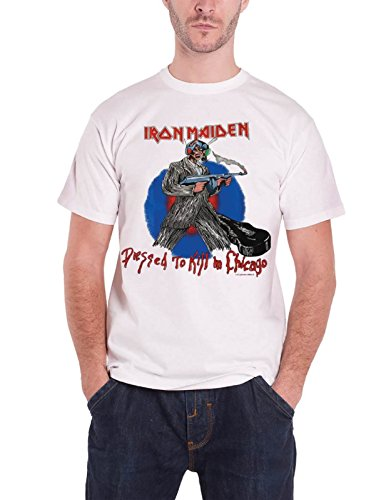 (Iron Maiden T Shirt Chicago Mutants dressed to kill Official Mens New White)