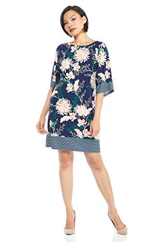 London Times Women's Petite Kimono Sleeve Matte Jersey Shift Dress, Navy Blush, 12P