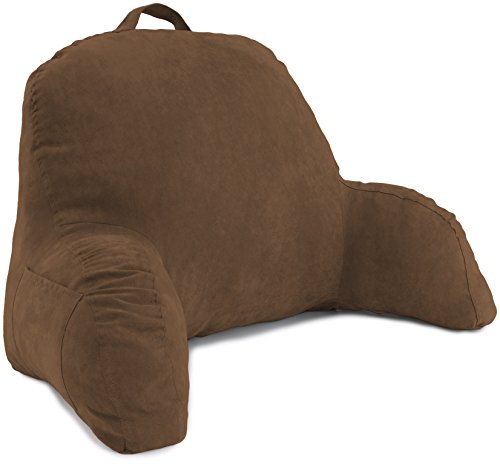 Deluxe Comfort Microsuede Bed Rest - Backrest Pillow with Arms - Bed Rest Pillow - Reading Bedrest Lounger - Sitting Support Pillow - Soft But Firmly-Stuffed Fiberfill - Reading Pillow, Brown