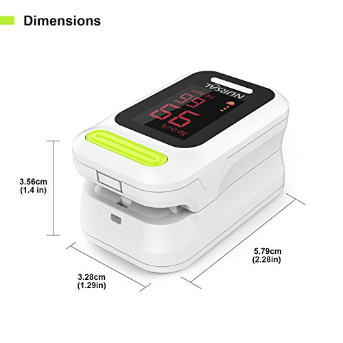 NURSAL Fingertip Pulse Oximeter Blood Oxygen Saturation Monitor with Carrying Case & Lanyard, White by NURSAL (Image #6)