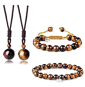 ORAZIO Tiger Eye Bracelet Women Men Beaded Stone Bracelet Necklace Couple Jewelry Set 8MM 10MM