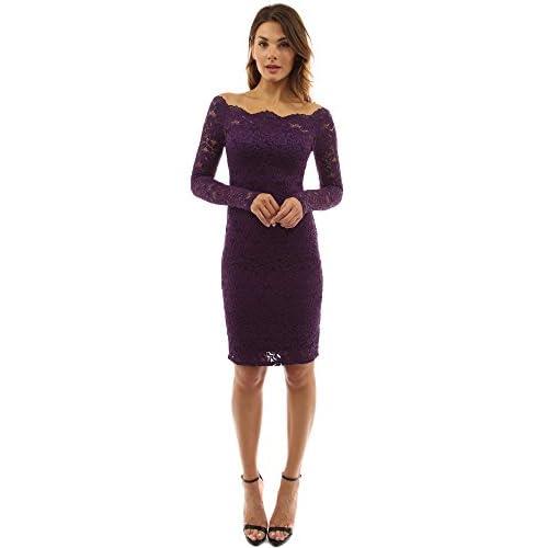 e0d2481f9da1 PattyBoutik Mujer fuera del hombro doble ajustado vestido de encaje ...