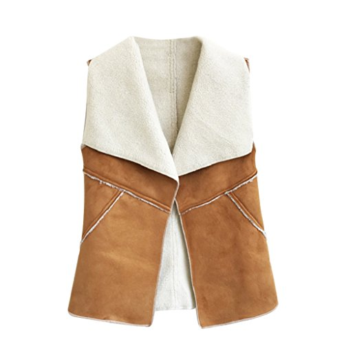 Female Women Imitation Artificial Fur Sweater Vest wool vest Waistcoat Collar Coat size XXXL (Camel) -