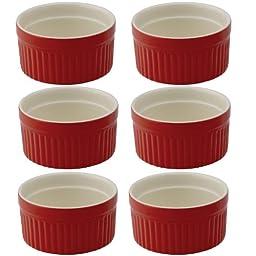 Mrs. Anderson's Baking Ceramic 2-Ounce Ramekin, Set of 6, Rose Red