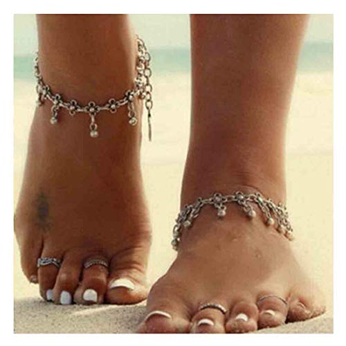 Yfe Dangle Pearl Anklet Foot Jewelry Flowers Tassels Anklets Bracelet for Women and Girls Beach Wedding Foot Jewelry - Dangle Anklet