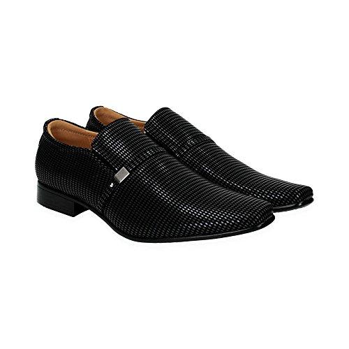 Herren Business Halb Schuhe | Elegante Slipper zum Anzug | Bequeme Office Schuhe mit Karo-Muster | Gr. 39 bis 45 | Japanolo | Schwarz EU 42