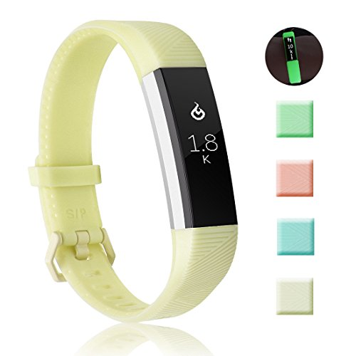 Fundro Compatible Fitbit Alta HR Bands, Newest Sport Replacement Wristbands Secure Metal Buckle Fitbit Alta HR/Fitbit Alta (B# 1-Pack Yellow, Large (7.1