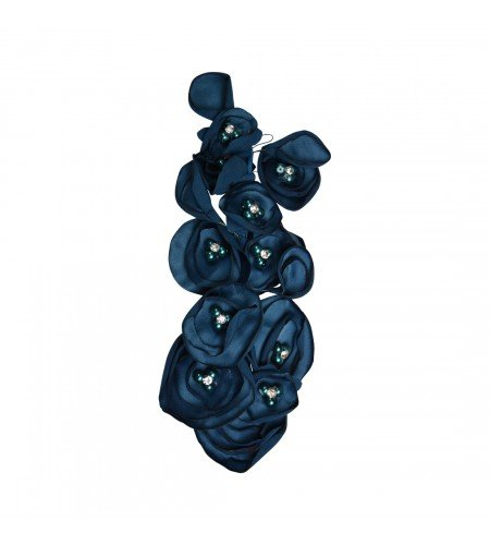 Blue Silk Flowers Wreath Clip Updo Wedding Hair Piece