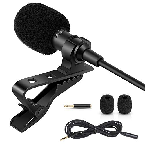 Rovtop Professional Lavalier Lapel Microphone - Omnidirectional Condenser Microphone for iPhone
