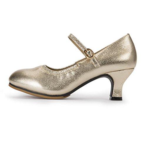 Jingsen Zapatillas de Baile Latino Mujer Verano Nuevo Estilo de Cuero Amistad Moderna con Adultos Zapatos de Baile Cuadrados al Aire Libre (Color : La Plata, Tamaño : 35) Oro