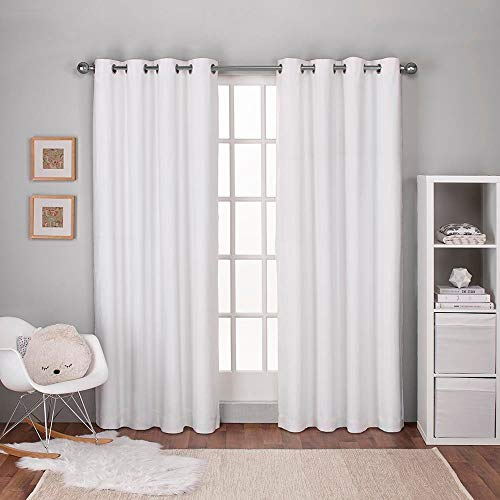 Exclusive Home Curtains Textured Linen Thermal Window Curtain Panel Pair with Grommet Top, 54x96, Winter White, 2 Piece