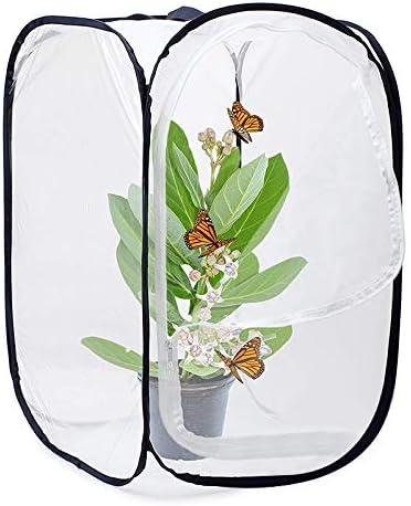 Tiamu Insekten Und Schmetterlings Lebens Raum K?fig Glas Beh?lter Knalle 23,6 Zoll Hoch (Wei?+Schwarz)