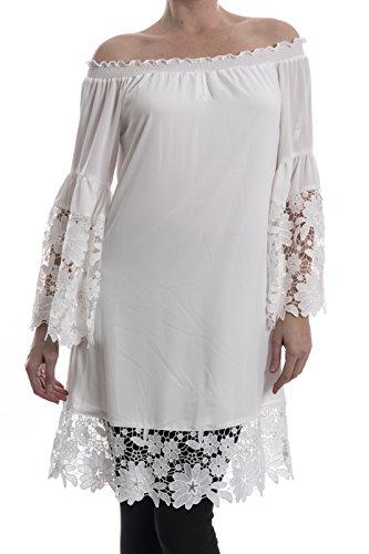 Joseph Ribkoff Lace Trim Off White Dress Style 181242 - Medium by Joseph Ribkoff