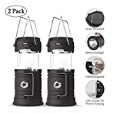 Solar Lantern Flashlights, USB Rechargeable Camping Lantern Led, Collapsible & Portable for Emergency, Hurricanes, Power Outage, Storm (Black 2)