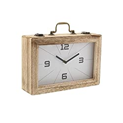 Deco 79 85252 Wood and Iron Latched Suitcase Clock, 8 x 12, Brown/White/Black
