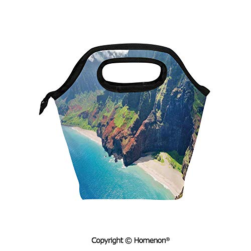 Insulated Neoprene Soft Lunch Bag Tote Handbag lunchbox,3d prited with Na Pali Coast on Kauai Island on Hawaii in a Sunny Day Seaside Mountain Skyline,For School work Office Kids Lunch Box & Food Cont