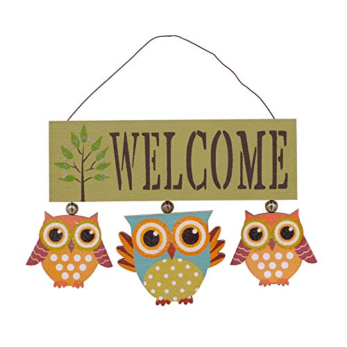 YK Decor Wooden Owl Welcome Door Sign Decorative Hanging Welcome Sign for Front Door Home Decor 6.8X 8.8 x 0.25 inches (Green)