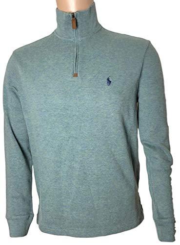 Polo Ralph Lauren Mens Half Zip French Rib Cotton Sweater (Large, Green/Navy Pony)