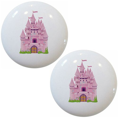 Set of 2 Castle Ceramic Cabinet Drawer Pull Knobs (Princess Drawer Pull)