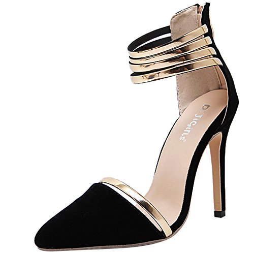 Black Ankle Pump Stiletto Strap Suede Womens Heel Beauty Pointed D2C Toe Sandals wOaPXZ