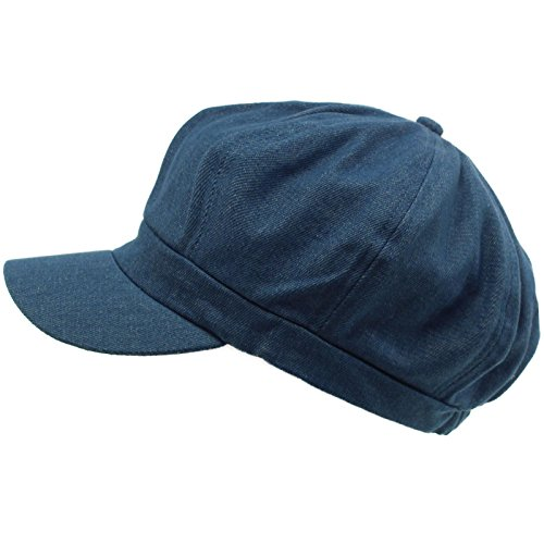 SK Hat shop Summer 100% Cotton Plain Blank 6 Panel Newsboy Gatsby Apple Cabbie Cap Hat Denim -