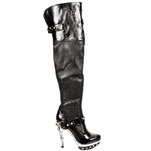 New Rock Støvler M.punk015-s1 Gotiske Hardrock Punk Dame Stiefel Sort t8laDq